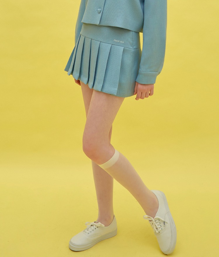 Heart Pleats Logo Skirt (Sky Blue)