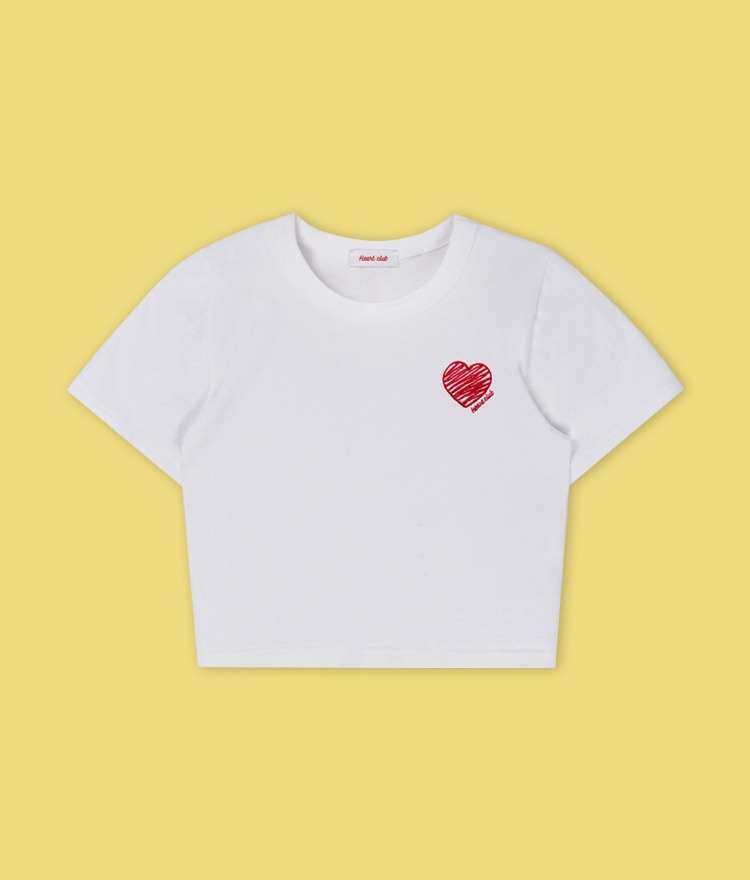 Heart Drawing Crop Top (White)