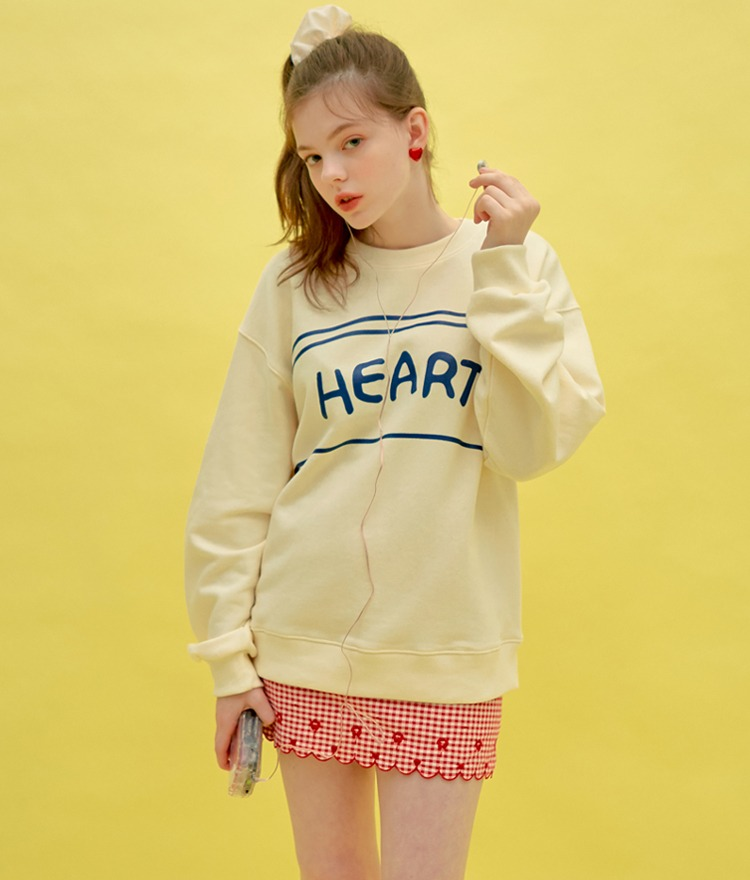 Heart Line Drawing Sweat Shirt (Cream)