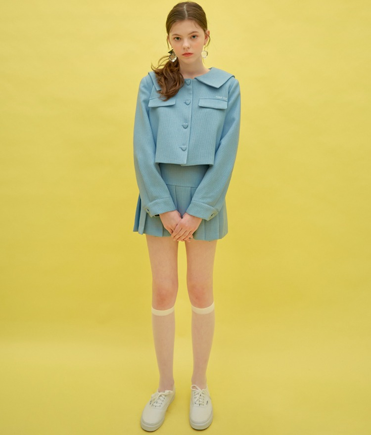 Heart Sailor Jacket (Sky Blue)Heart Pleats Logo Skirt (Sky Blue)SET