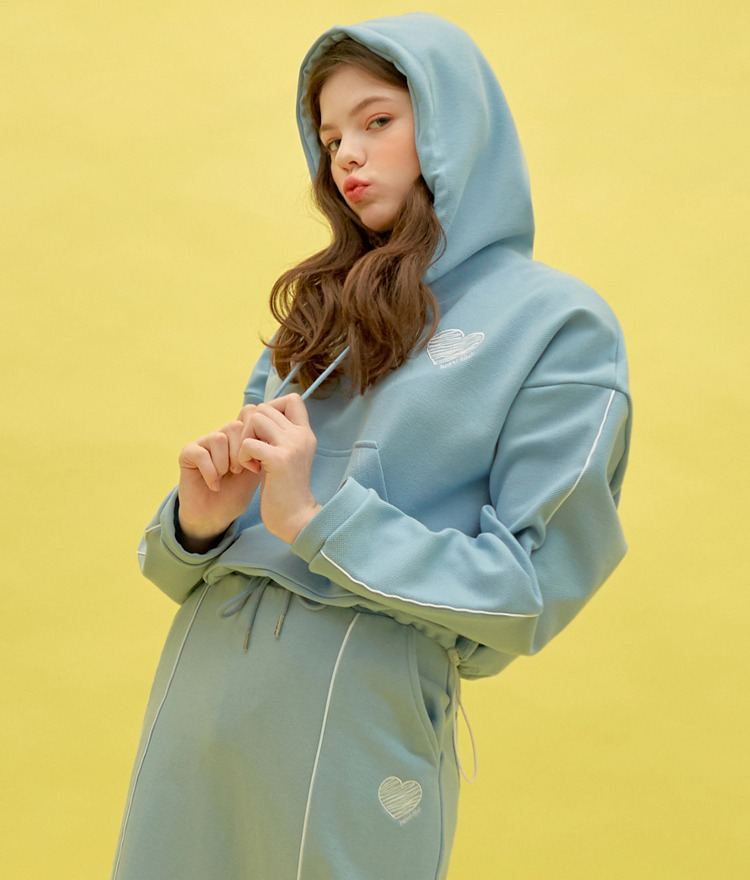 Heart Piping Crop Hoodie (Sky Blue)