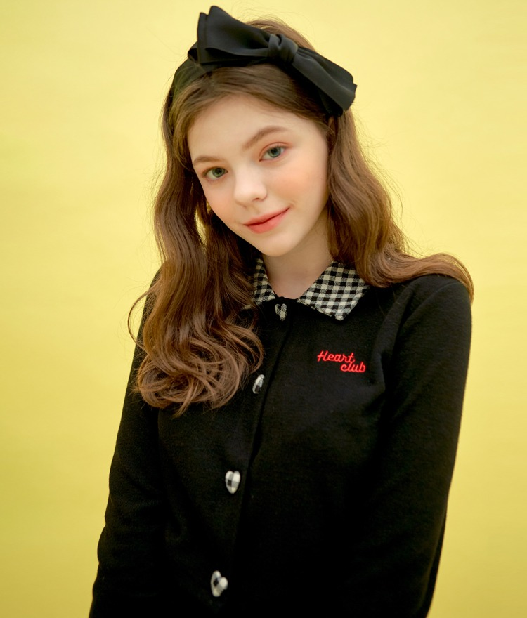 Heart Check Collar Top (Black)