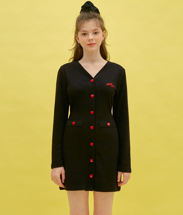 Heart Button Coloration Dress (Black)