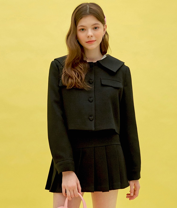 Heart Sailor Jacket (Black)Heart Pleats Logo Skirt (Black)SET