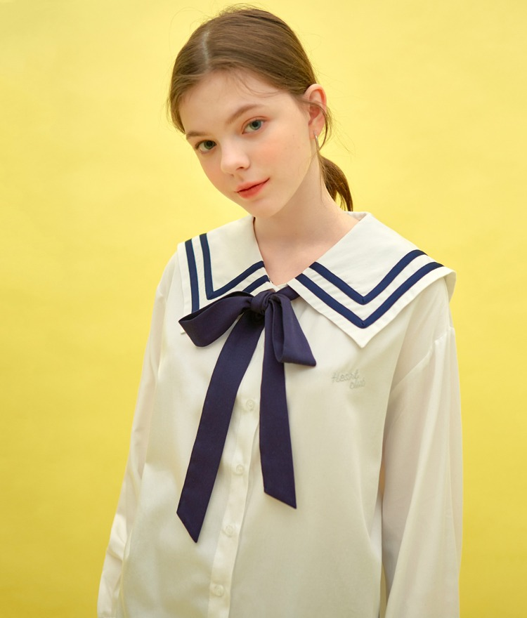 Heart Sailor Ribbon Long Shirt (White)
