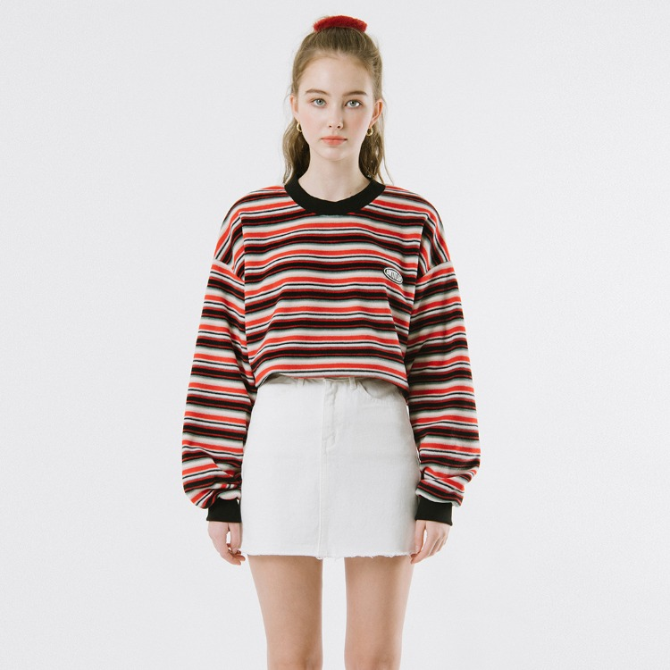 Fleece Stripe Sweat Shirt (Red)