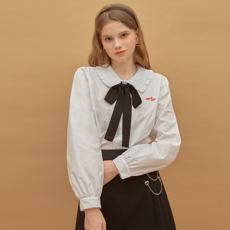 Heart Ribbon Frill Blouse (White)