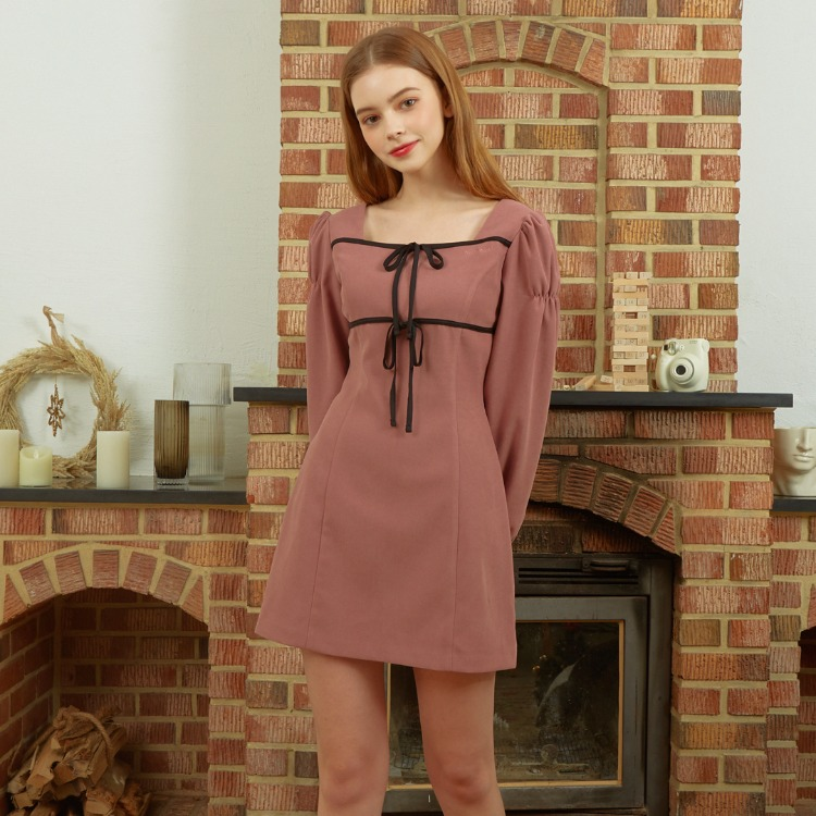 Heart Square Ribbon Dress (Indi Pink)
